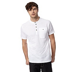 Red Herring - White pique button neck t-shirt