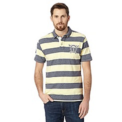 St George by Duffer - Big and tall yellow wide striped crest logo polo shirt