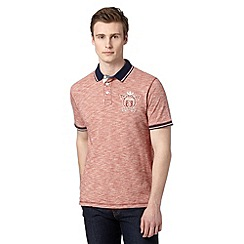 St George by Duffer - Red logo embroidered striped polo shirt