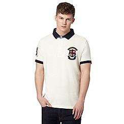 St George by Duffer - Big and tall off white logo crest embroidered polo shirt