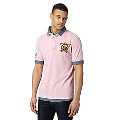 St George by Duffer - Big and tall pink mock chambray polo shirt