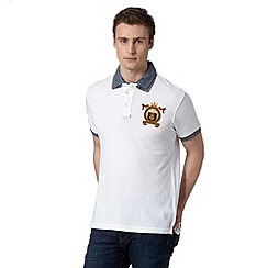St George by Duffer - Big and tall white contrast collar rugby shirt