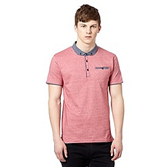 Red Herring - Red striped penny collar polo shirt