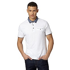 Red Herring - White jacquard chambray collar polo shirt
