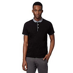 Red Herring - Black geo penny collar polo shirt