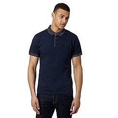 Red Herring - Navy printed collar polo shirt
