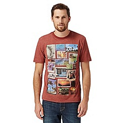 St George by Duffer - Big and tall dark red 'Jamaican postcard' t-shirt