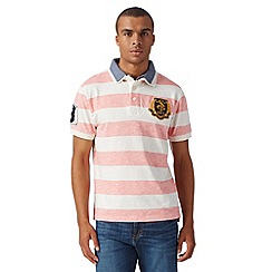 St George by Duffer - Big and tall pink striped mock collar polo shirt