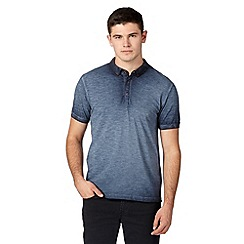 Red Herring - Navy oil wash pique polo shirt