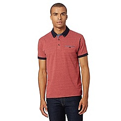 Red Herring - Dark red polka dot jacquard polo shirt