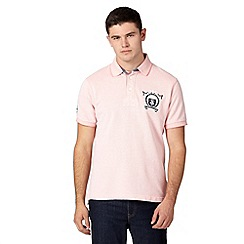 St George by Duffer - Big and tall pale pink textured crest logo polo shirt