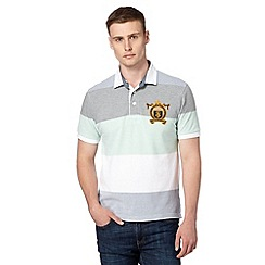 St George by Duffer - Light green pique wide striped polo shirt