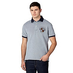 St George by Duffer - Navy textured crest logo polo shirt