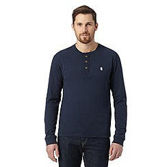 St George by Duffer - Big and tall navy button neck long sleeved top