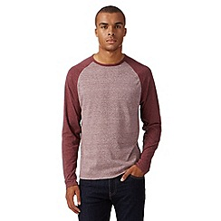 Red Herring - Dark red textured long sleeved t-shirt