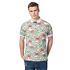 Red Herring - Green leaf print pique polo shirt