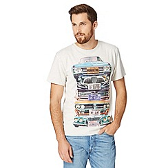 St George by Duffer - Big and tall pale grey stacked car print t-shirt