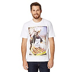 St George by Duffer - Big and tall white bulldog with BBQ print t-shirt