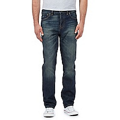 St George by Duffer - Big and tall blue straight leg vintage wash jeans