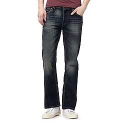 St George by Duffer - Big and tall blue vintage wash bootcut jeans