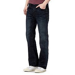 St George by Duffer - Big and tall blue dark wash worn bootcut jeans
