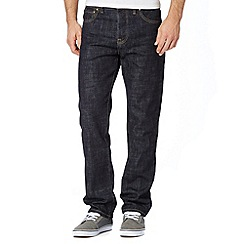 St George by Duffer - Big and tall dark blue straight rinse jeans