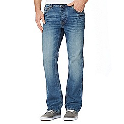 St George by Duffer - Big and tall mid blue bootcut jeans