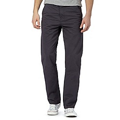 St George by Duffer - Big and tall dark grey twill straight leg chinos