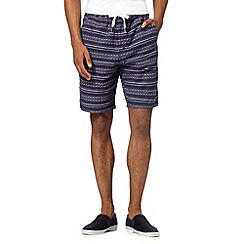 Red Herring - Navy jacquard aztec striped shorts