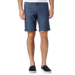 Red Herring - Big and tall blue jacquard stars chambray shorts