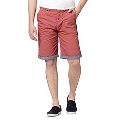 Red Herring - Red turn up chino shorts