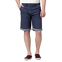 Red Herring - Navy turn up chino shorts