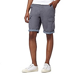 Red Herring - Dark grey chambray cuff cargo shorts
