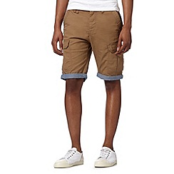 Red Herring - Big and tall tan chambray cuff cargo shorts