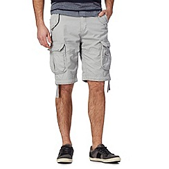 St George by Duffer - Light grey plain cargo shorts