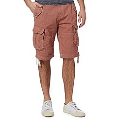 St George by Duffer - Red fine dot cargo shorts