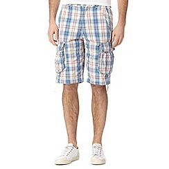 St George by Duffer - Blue checked cargo shorts