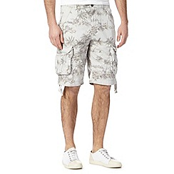 St George by Duffer - Big and tall pale grey palm tree print cargo shorts