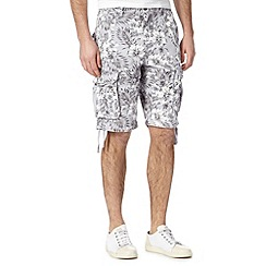 St George by Duffer - Light grey tropical floral cargo shorts