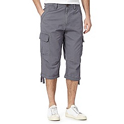 St George by Duffer - Big and tall grey cropped cargo trousers