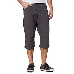 FFP - Big and tall dark grey mini dogtooth crop cargo shorts