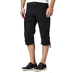 FFP - Big and tall black belted cropped cargo trousers