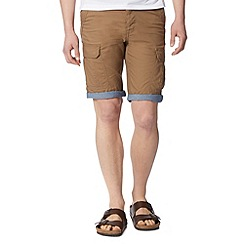 Red Herring - Tan constrast turn up cargo shorts