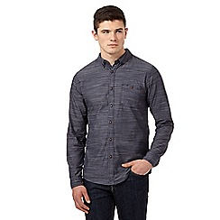 Red Herring - Navy herringbone button down collar shirt