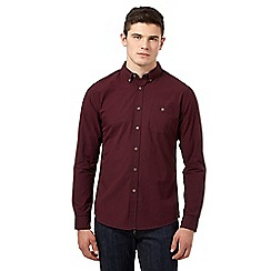 Red Herring - Dark red gingham button down collar shirt