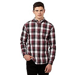 Red Herring - Maroon jacquard checked shirt
