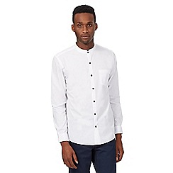 Red Herring - White plain collarless shirt