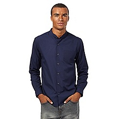 Red Herring - Navy plain collarless shirt