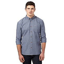 St George by Duffer - Big and tall blue textured spot shirt