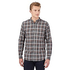 St George by Duffer - Big and tall grey long sleeved gingham shirt